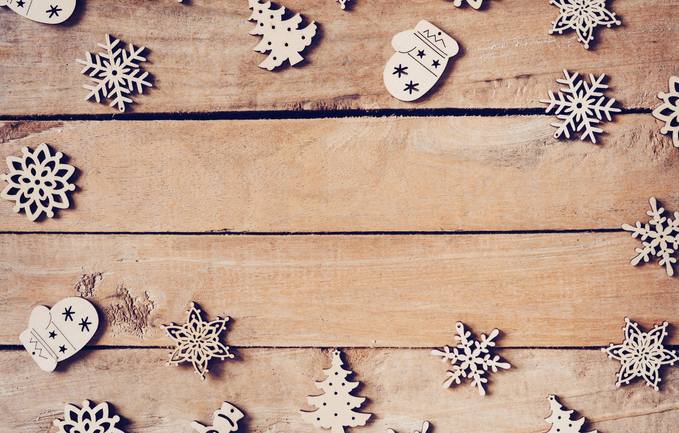 Photo wallpaper winter, decoration, snowflakes, tree, New Year, Christmas, Christmas, wood, winter, background, wooden, New Year, snowflakes, …