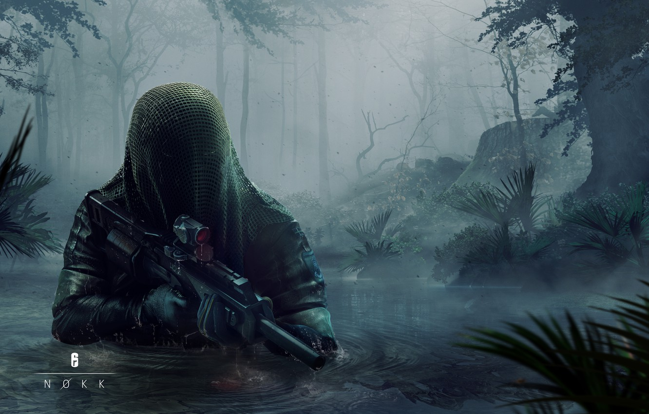Photo wallpaper water, trees, weapons, art, sight, Cape, art, Ubisoft, special forces, muffler, Tom Clancy's Rainbow Six …