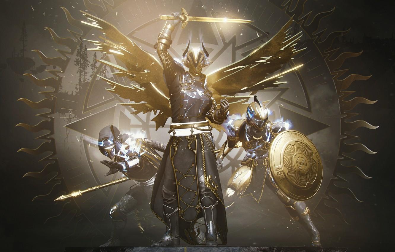 Photo wallpaper Sword, Armor, Glow, Hunter, Bungie, Shield, The warlock, Titan, Destiny, Spear, 2020, Arrival, Destiny 2, …