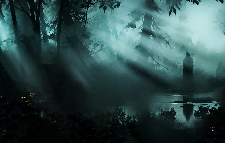 Photo wallpaper Fog, Trees, Forest, Rays, Silhouette, The demon, Fantasy, Ghost, Art, Horror, Ghost, Horror, Illustration, Forest, …