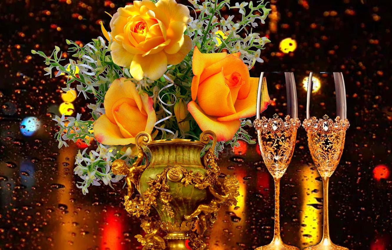 Photo wallpaper rain, the evening, glasses, Roses