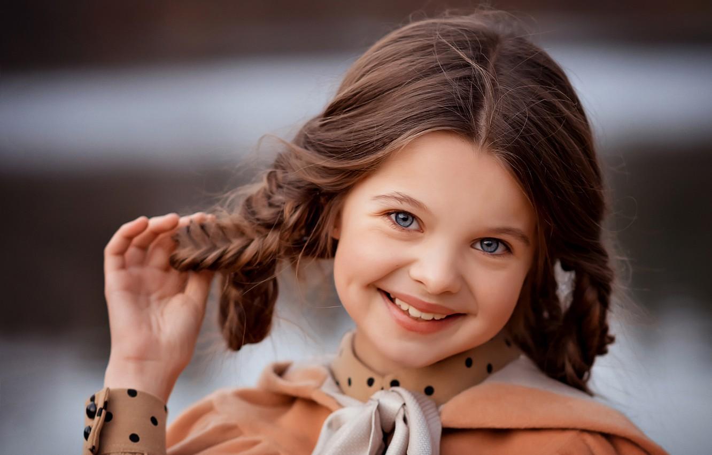 Photo wallpaper face, smile, background, sweetheart, portrait, girl, braids, Valentine Ermilova