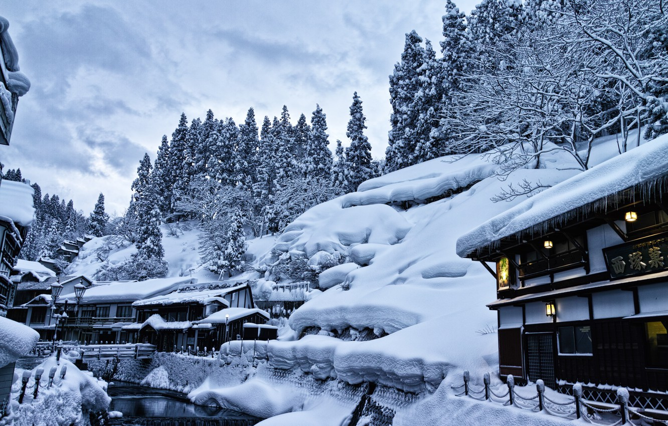 Photo wallpaper winter, snow, trees, landscape, home, Japan, lights, the snow, source, hotels, Yamagata, Ginzan Hot Spring …