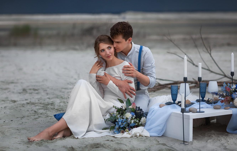 Photo wallpaper girl, bouquet, dress, hugs, male, lovers, wedding, Anastasia Barmina