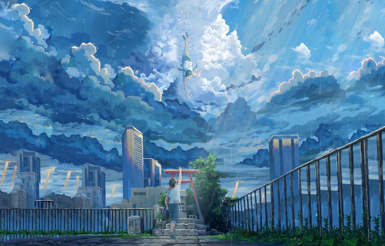 Photo wallpaper girl, clouds, the city, guy, Hina Amano, Tenki no ko, Hodaka Morishima, Child Of The …