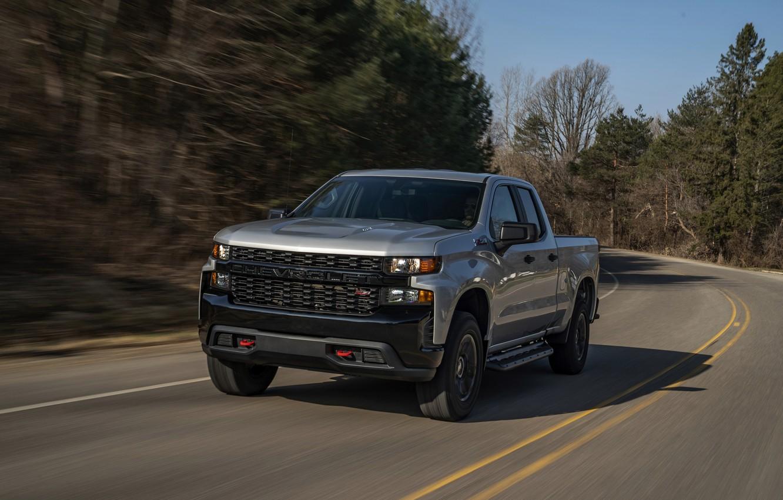Photo wallpaper road, Chevrolet, pickup, Custom, Silverado, 2020