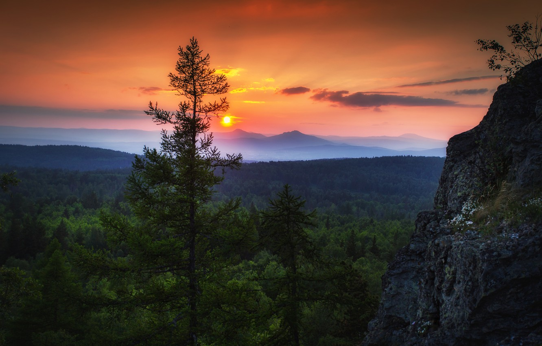 Photo wallpaper the sky, the sun, clouds, trees, sunset, nature, rocks, the evening, Paul Sahaidak, Ural-Tau