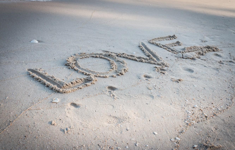 Photo wallpaper sand, beach, summer, love, summer, love, beach, sea, romantic, sand