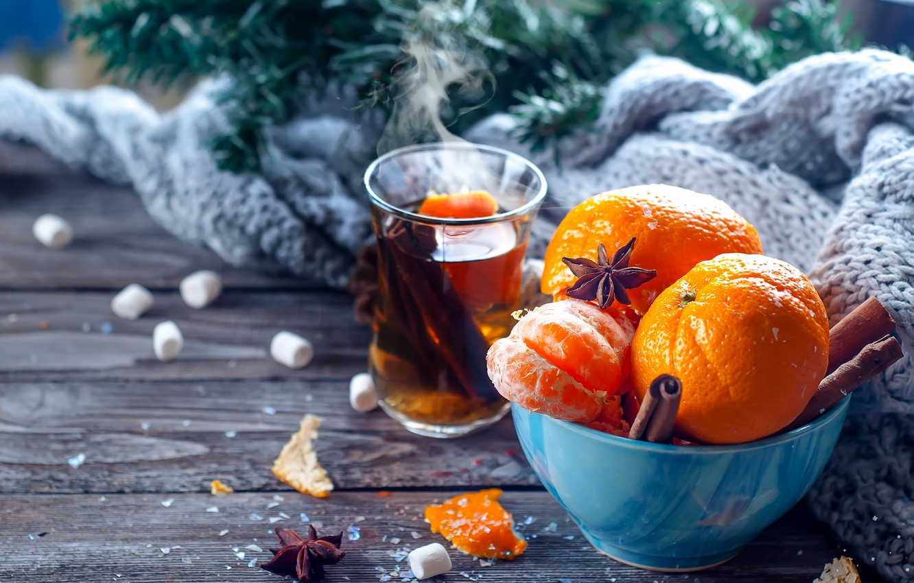 Photo wallpaper snow, decoration, New Year, Christmas, Christmas, wood, winter, snow, fruit, New Year, tangerines, decoration, tangerine, …