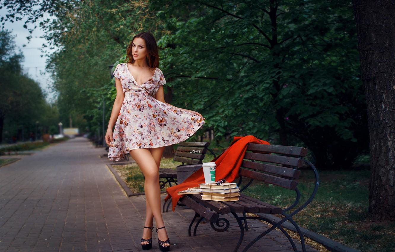 Photo wallpaper girl, bench, pose, Park, books, dress, legs, Alexander Drobkov-Light, Alice Skvortsova