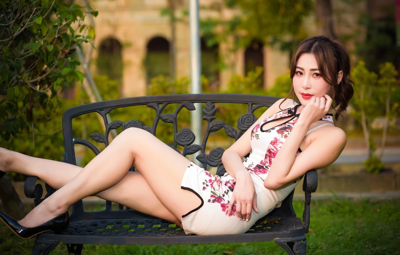 Photo wallpaper summer, face, Girl, dress, legs