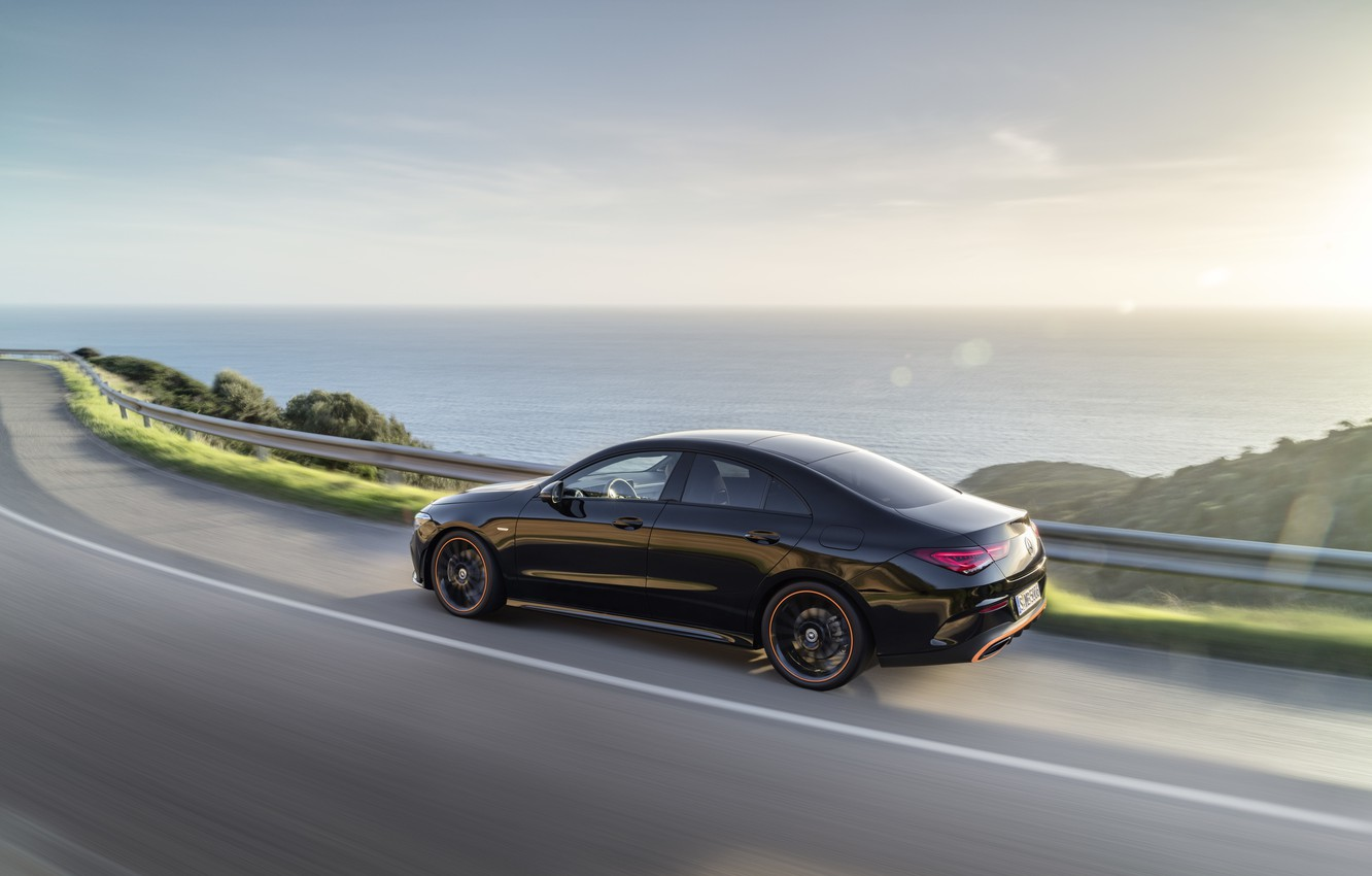 Photo wallpaper road, machine, water, nature, coupe, compact, Mercedes-Benz CLA
