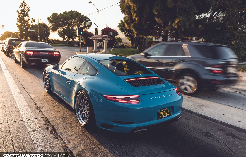 Photo wallpaper road, machine, the city, blue, 911, Porsche