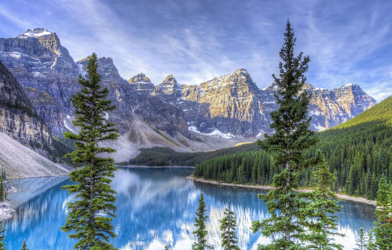 Photo wallpaper mountains, lake, ate, HDR photo