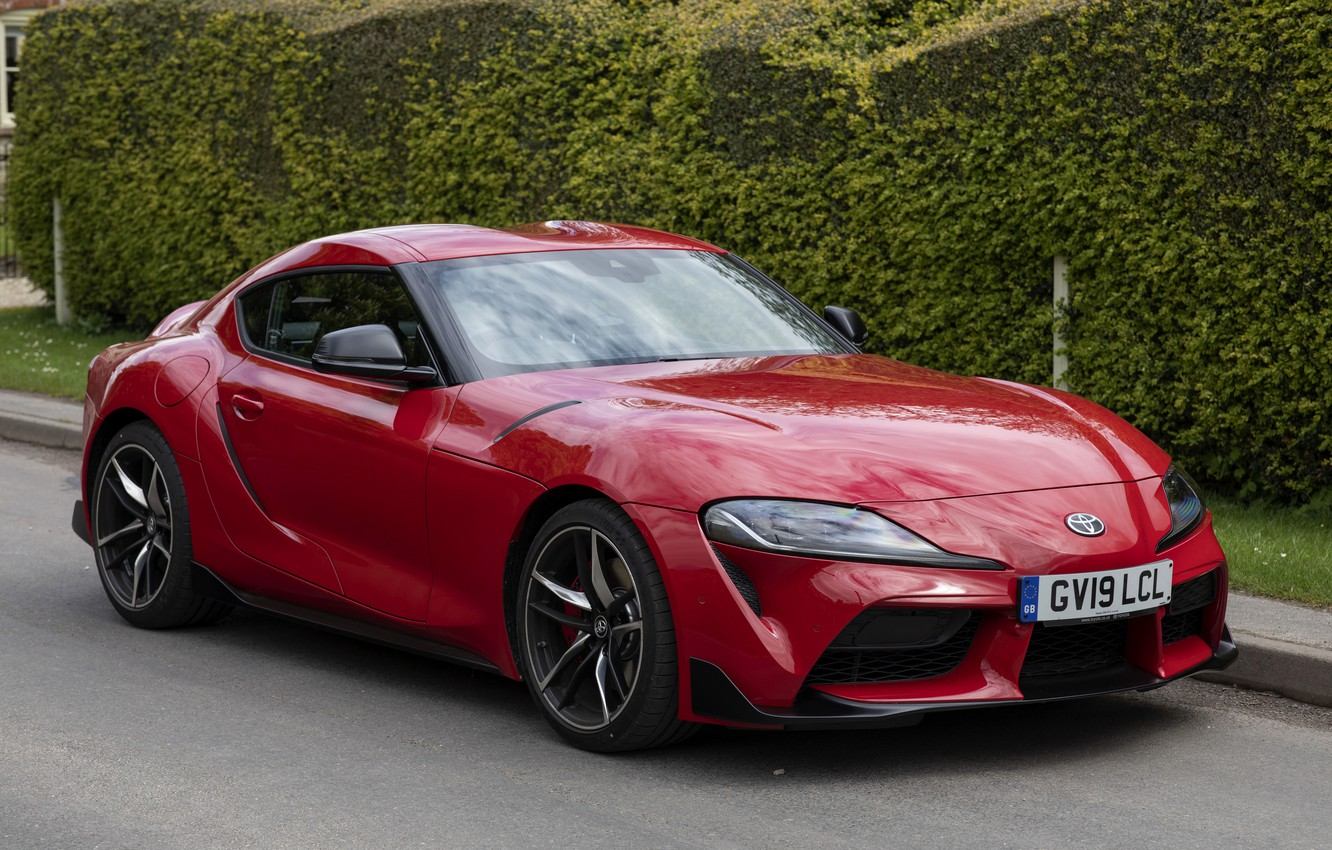 Photo wallpaper greens, red, coupe, Toyota, Supra, the fifth generation, fence, mk5, double, 2019, UK version, GR …
