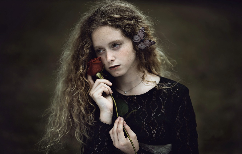 Photo wallpaper rose, girl, Paola