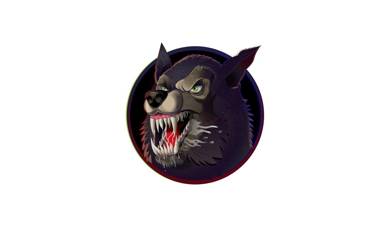 Photo wallpaper wolf, mouth, fangs