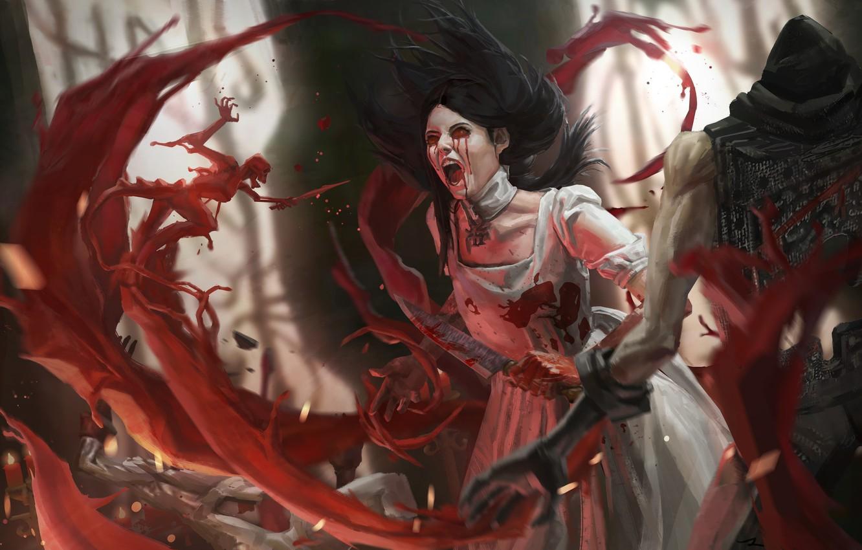 Photo wallpaper the demon, pain, the battle, Creek, art, Alice, bloody tears, blood, Alice Madness Returns, black …