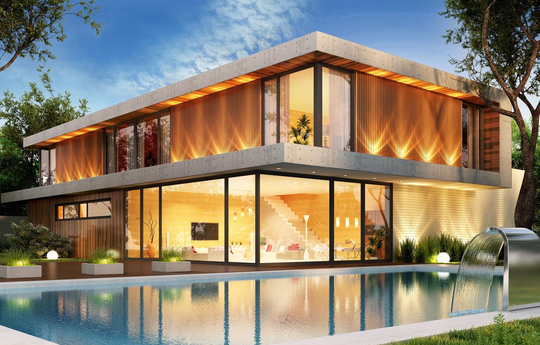 Photo wallpaper design, house, pool, modern, houses, villa, luxury