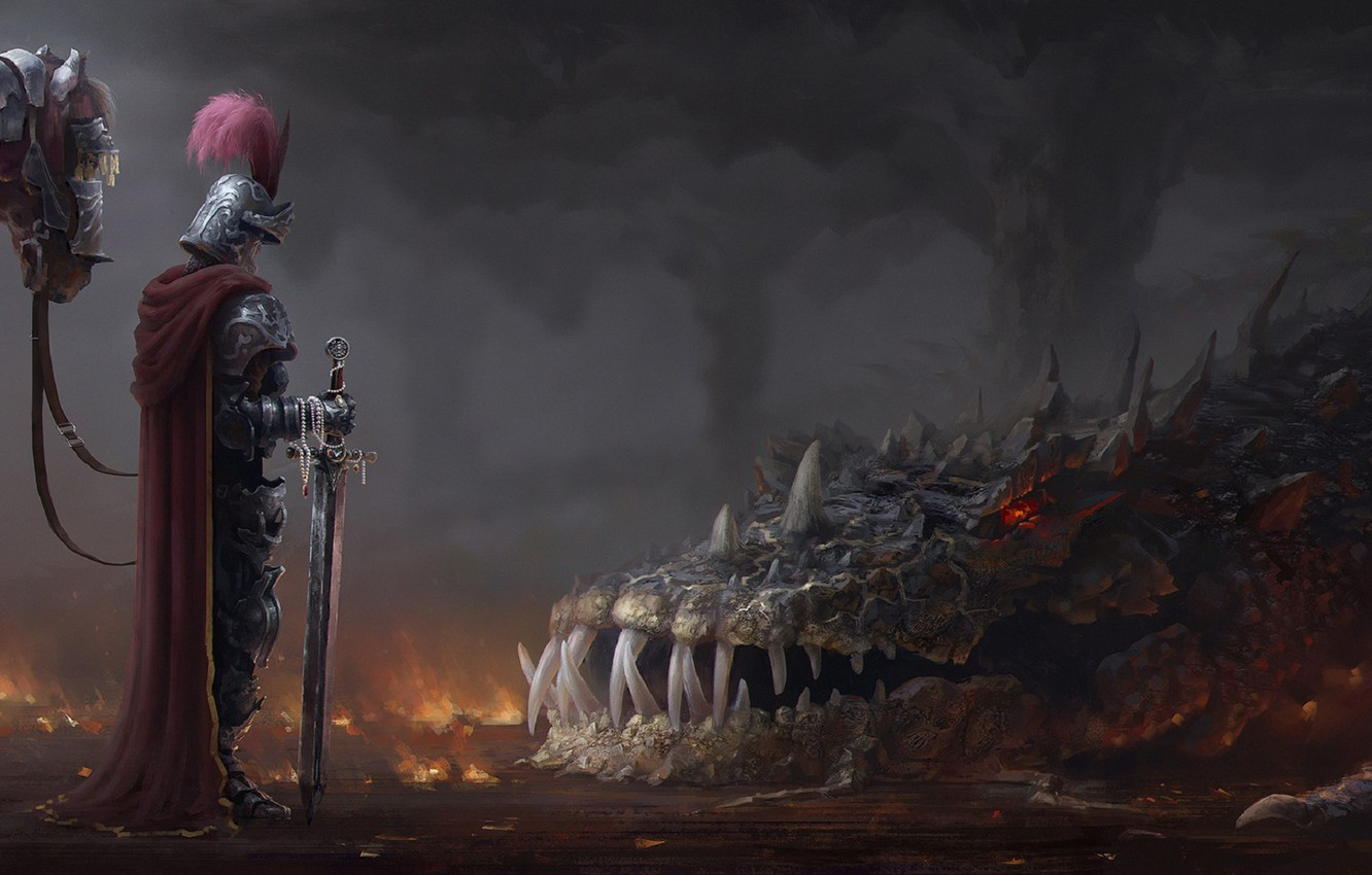 Photo wallpaper fog, dragon, horse, sword, mouth, fangs, knight, cloak, slam, hackle, armor plate, defeated, Andrei Polenov
