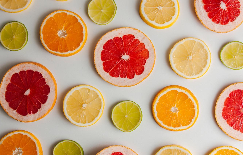 Photo wallpaper lemon, orange, lime, fruit, citrus, grapefruit, slices