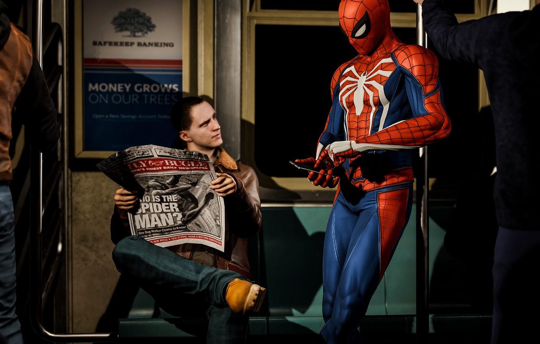 Wallpaper Metro Newspaper Guy Smartphone Spider Man Ps4