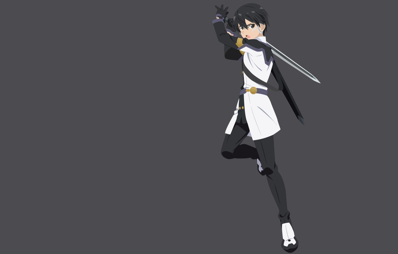 Photo wallpaper sword, anime, art, grey background, Sword art online, Sword Art Online, Kirito