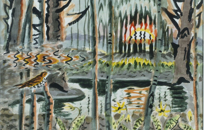 Photo wallpaper 1950, Charles Ephraim Burchfield, Song of the Wood Thrush