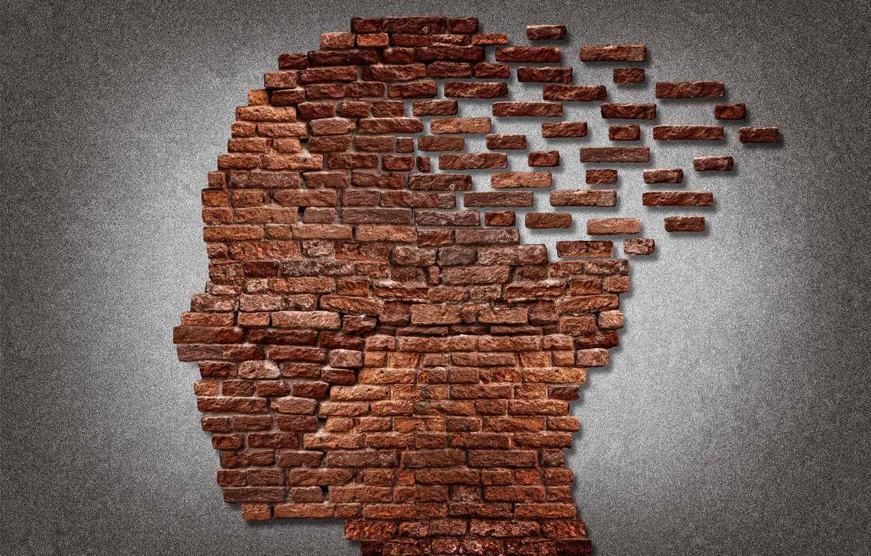 Photo wallpaper bricks, face, mind
