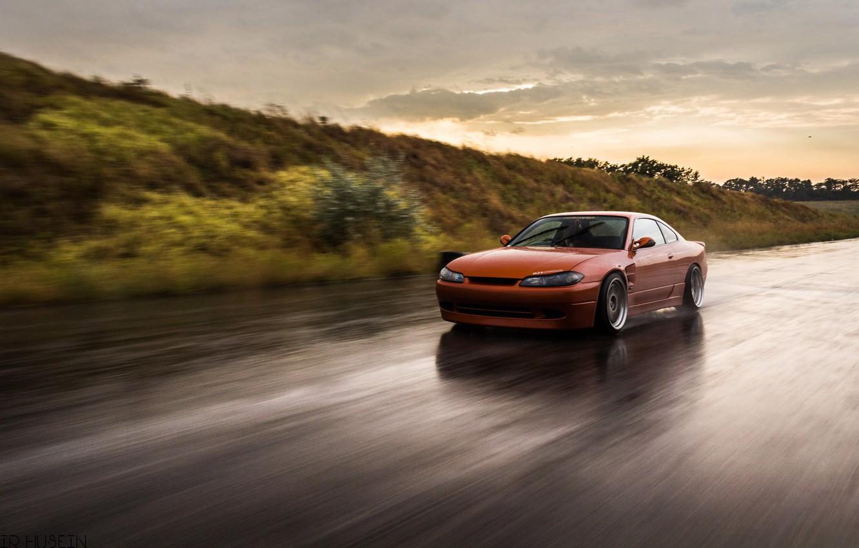 Photo wallpaper Orange, Car, Road, Nissan Silvia S15