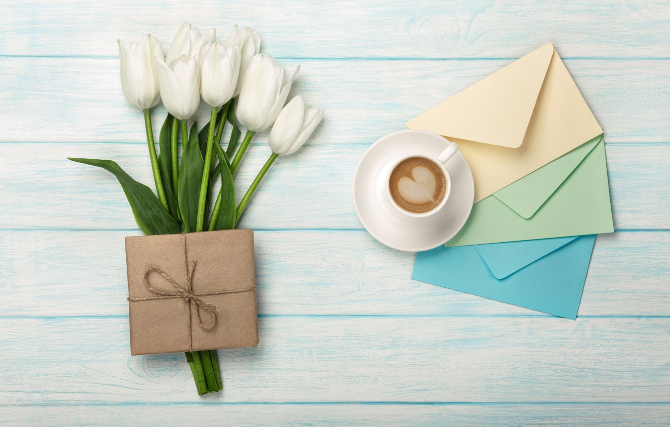 Photo wallpaper flowers, gift, heart, bouquet, tulips, white, heart, flowers, romantic, tulips, coffee cup, with love, a …