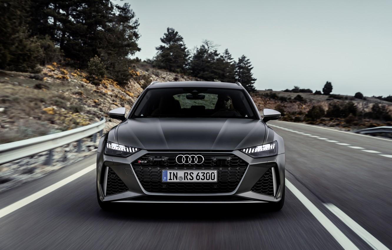 Photo wallpaper road, Audi, before, universal, RS 6, 2020, 2019, dark gray, V8 Twin-Turbo, RS6 Avant