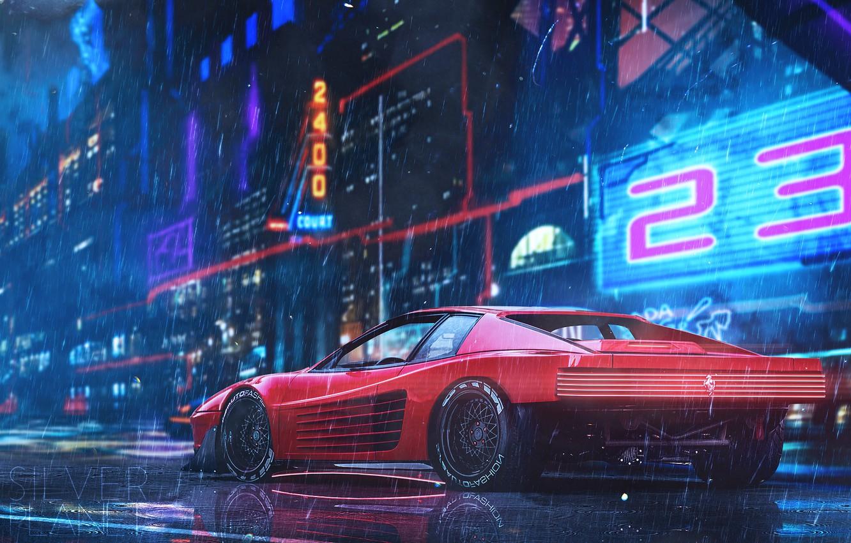 Photo wallpaper Red, Auto, Neon, Machine, Rain, Style, Car, Car, Art, Style, Neon, Cyberpunk 2077, Vehicles, Cyberpunk, …