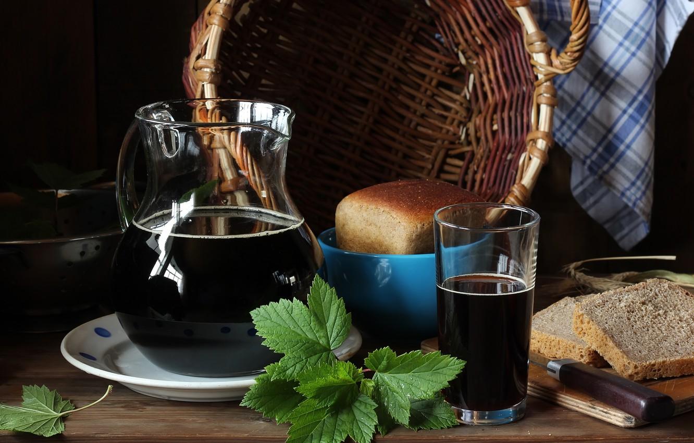 Photo wallpaper leaves, basket, bread, pitcher, brew