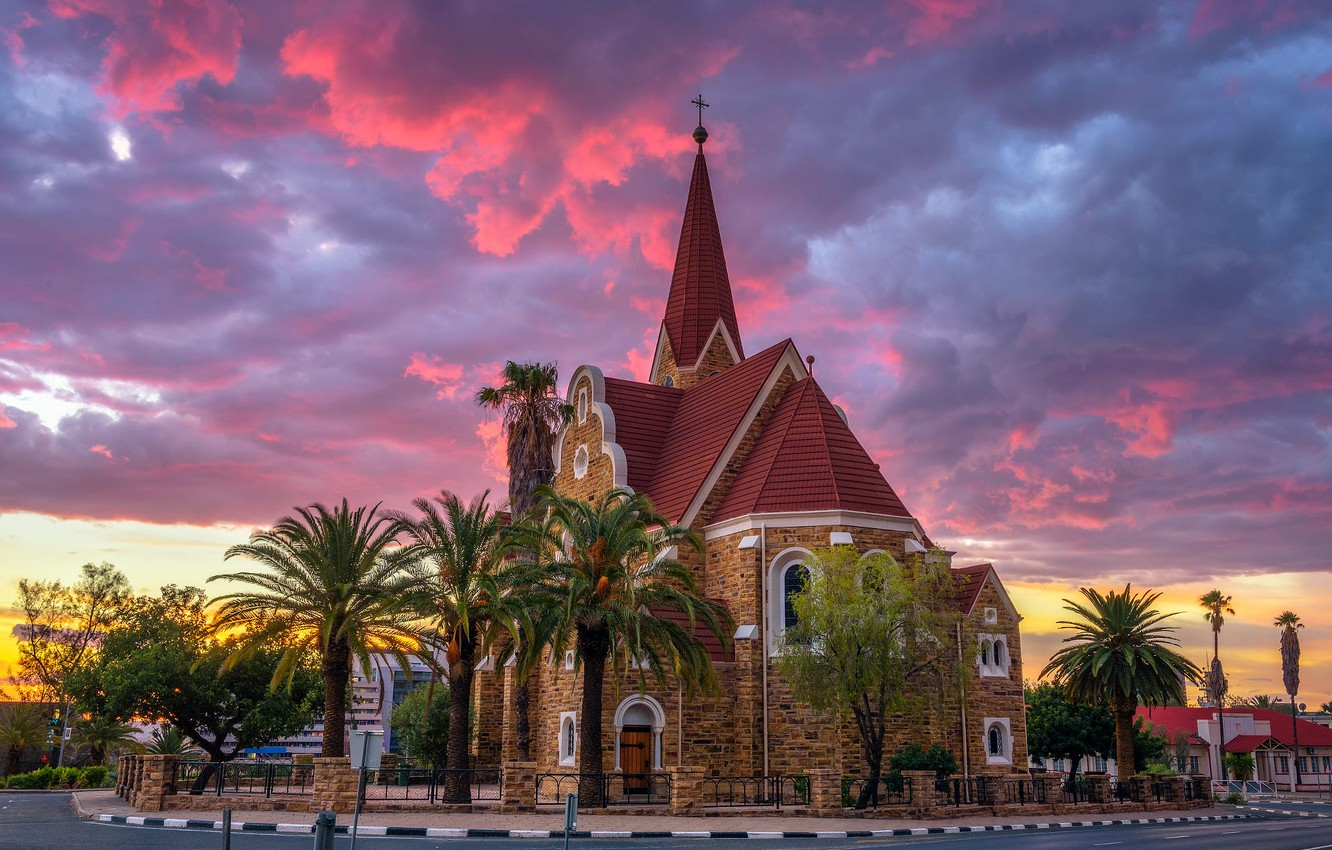 Photo wallpaper road, sunset, clouds, the city, palm trees, the evening, Church, architecture, Namibia, capital, Windhoek