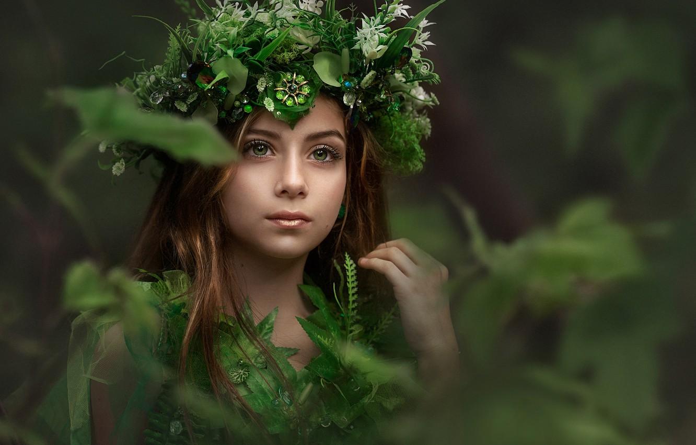 Photo wallpaper look, girl, face, portrait, makeup, wreath, forest nymph, Evgeny Loza, Yevhen Makarenko