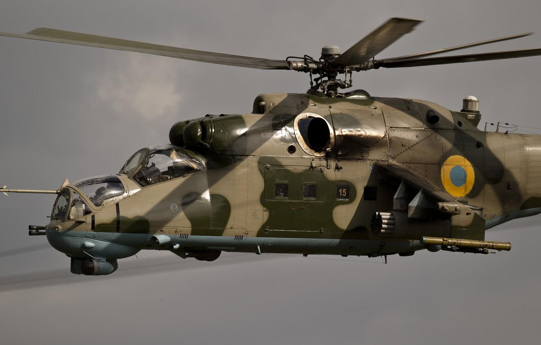 Photo wallpaper flight, helicopter, cabin, Crocodile, Hind, shock, Miles, Mi-24P, Ukrainian air force