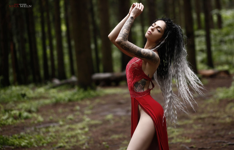 Photo wallpaper forest, girl, pose, hands, tattoo, curls, long hair, closed eyes, Nick Mölln, Milena Kravtsev