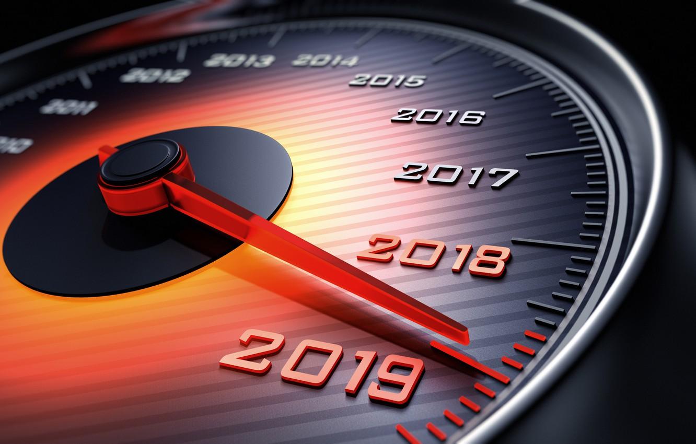 Photo wallpaper new year, speedometer, arrow, 2018, New Year, 2019