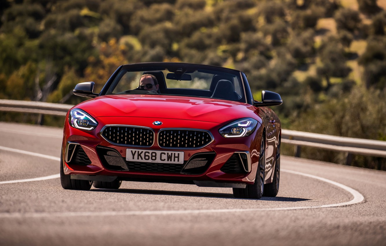 Photo wallpaper red, BMW, Roadster, front view, BMW Z4, M40i, Z4, 2019, UK version, G29