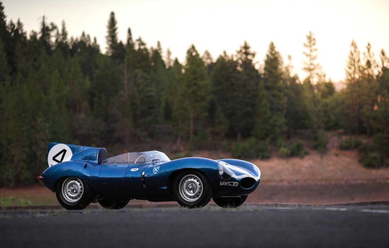 Photo wallpaper Blue, Classic, Motorsport, Sports car, Jaguar D-Type