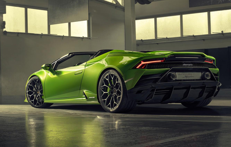 Wallpaper Lamborghini Rear View Spyder Evo Huracan 2019