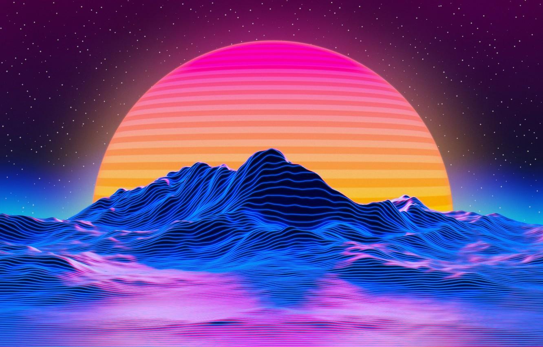 Photo wallpaper the sun, mountains, abstraction