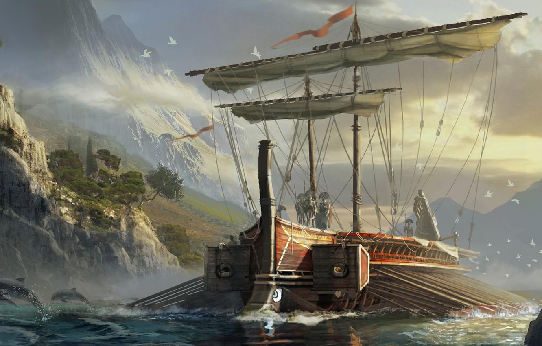 Photo wallpaper multi-platform video game, Eddie Bennun, Assassin's Creed:Origins, Greek Trireme