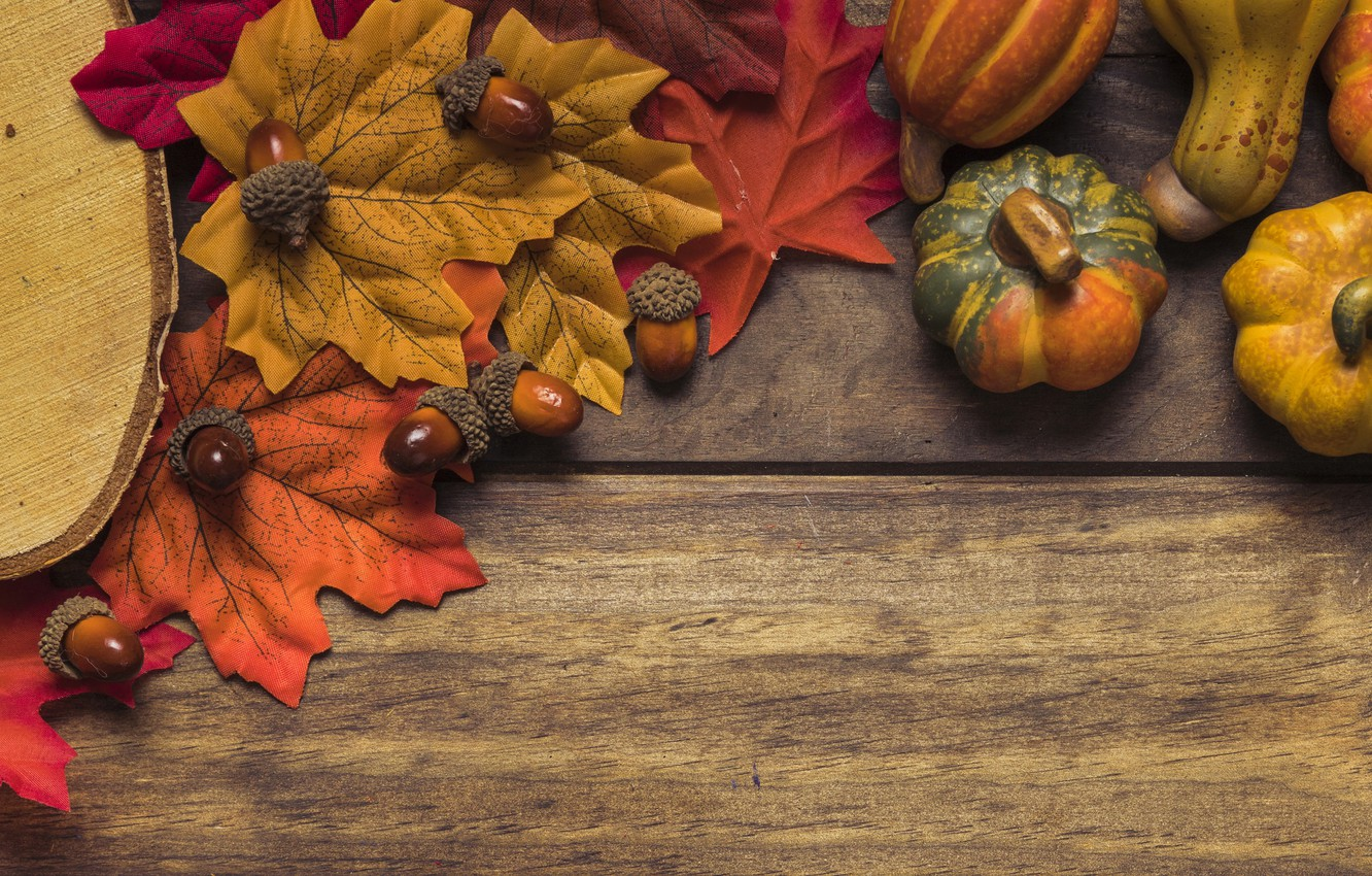 Photo wallpaper autumn, leaves, background, tree, Board, colorful, pumpkin, maple, wood, background, autumn, leaves, autumn, pumpkin, maple
