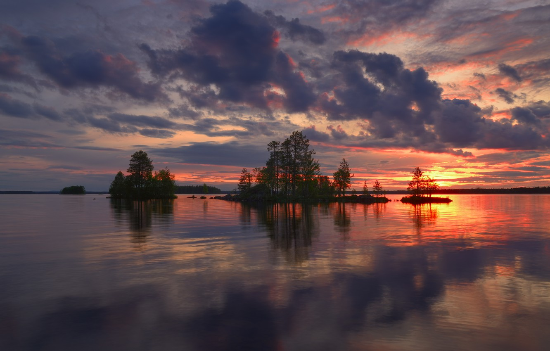 Photo wallpaper clouds, trees, landscape, night, nature, lake, glow, Finland, Maxim Evdokimov, Ala-Kitka