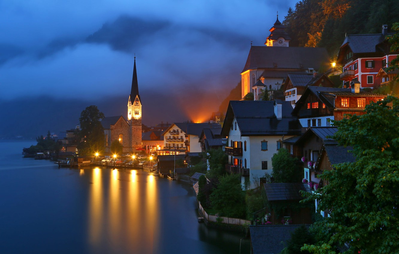 Photo wallpaper night, fog, lake, tower, home, Austria, lighting, lights, town, Hallstatt, Hallstatt, community