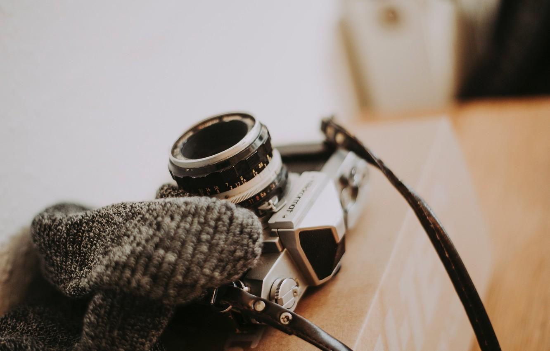 Photo wallpaper box, the camera, strap, Anete Lusina, nikkormat