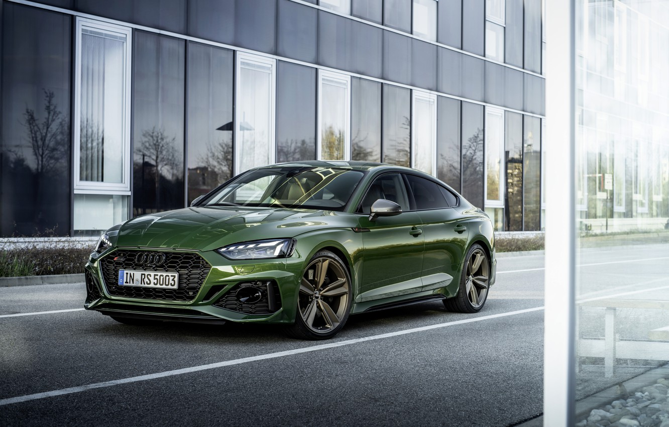Photo wallpaper Audi, street, the building, RS 5, 2020, RS5 Sportback