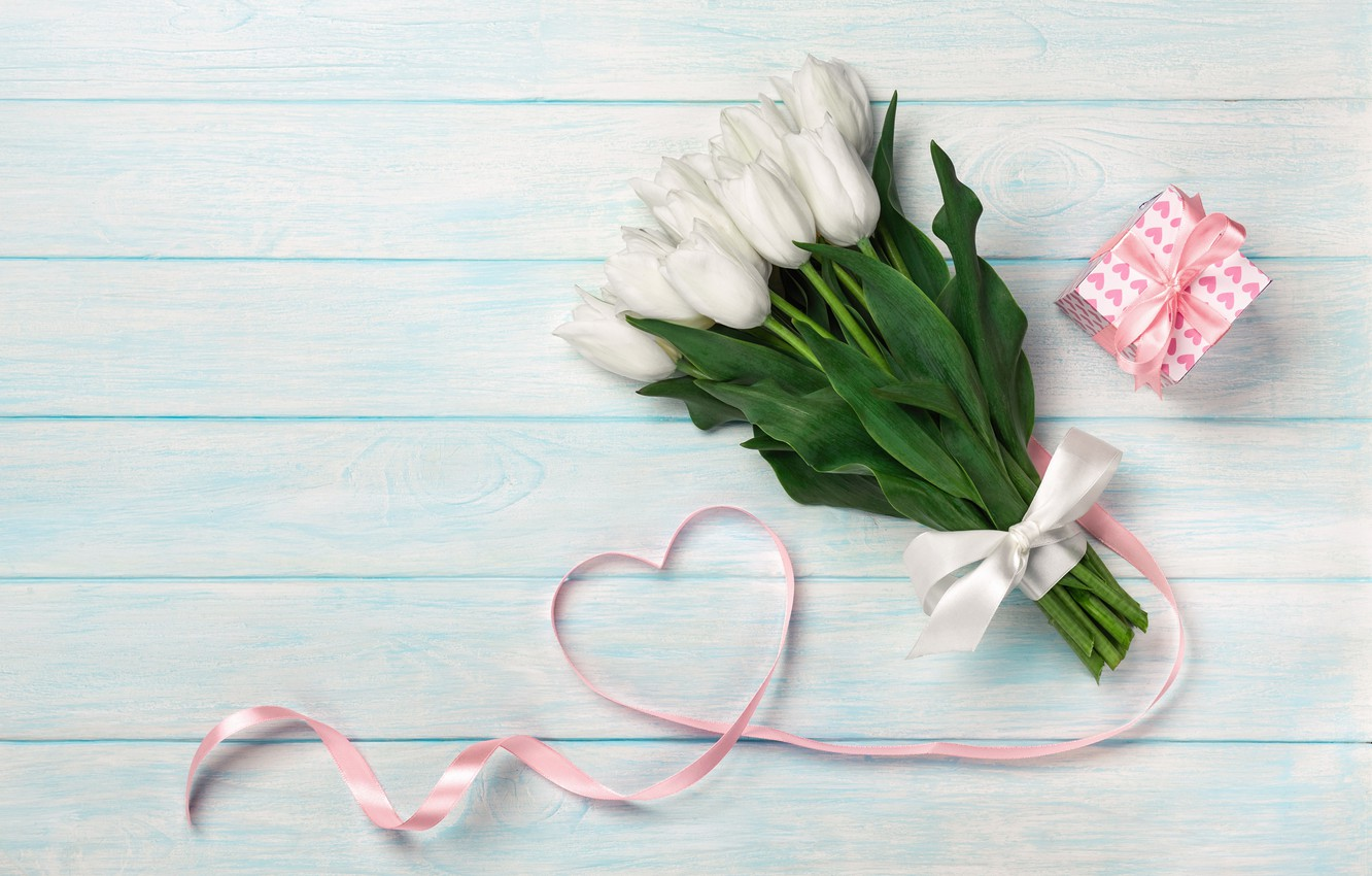 Photo wallpaper gift, bouquet, tape, Mother's day